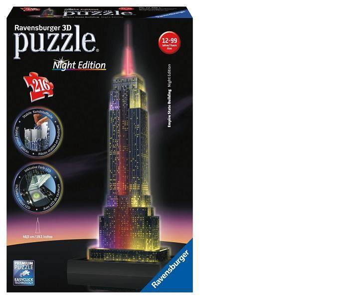 Nieuw: 3D Puzzel \'Empire State Building by night\' Led lampjes zorgen ...